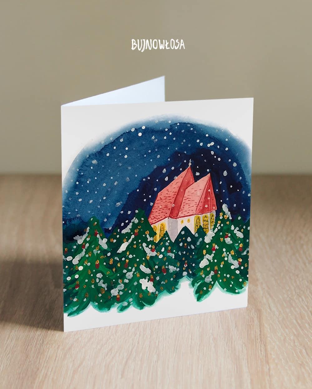 kartka_okolicznościowa_boże_narodzenie_kościół_śnieg
