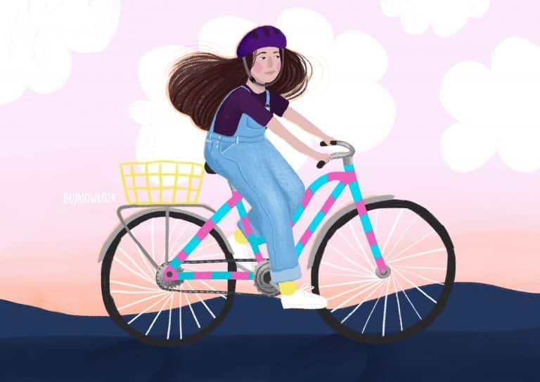 Portret dziewczyny na rowerze