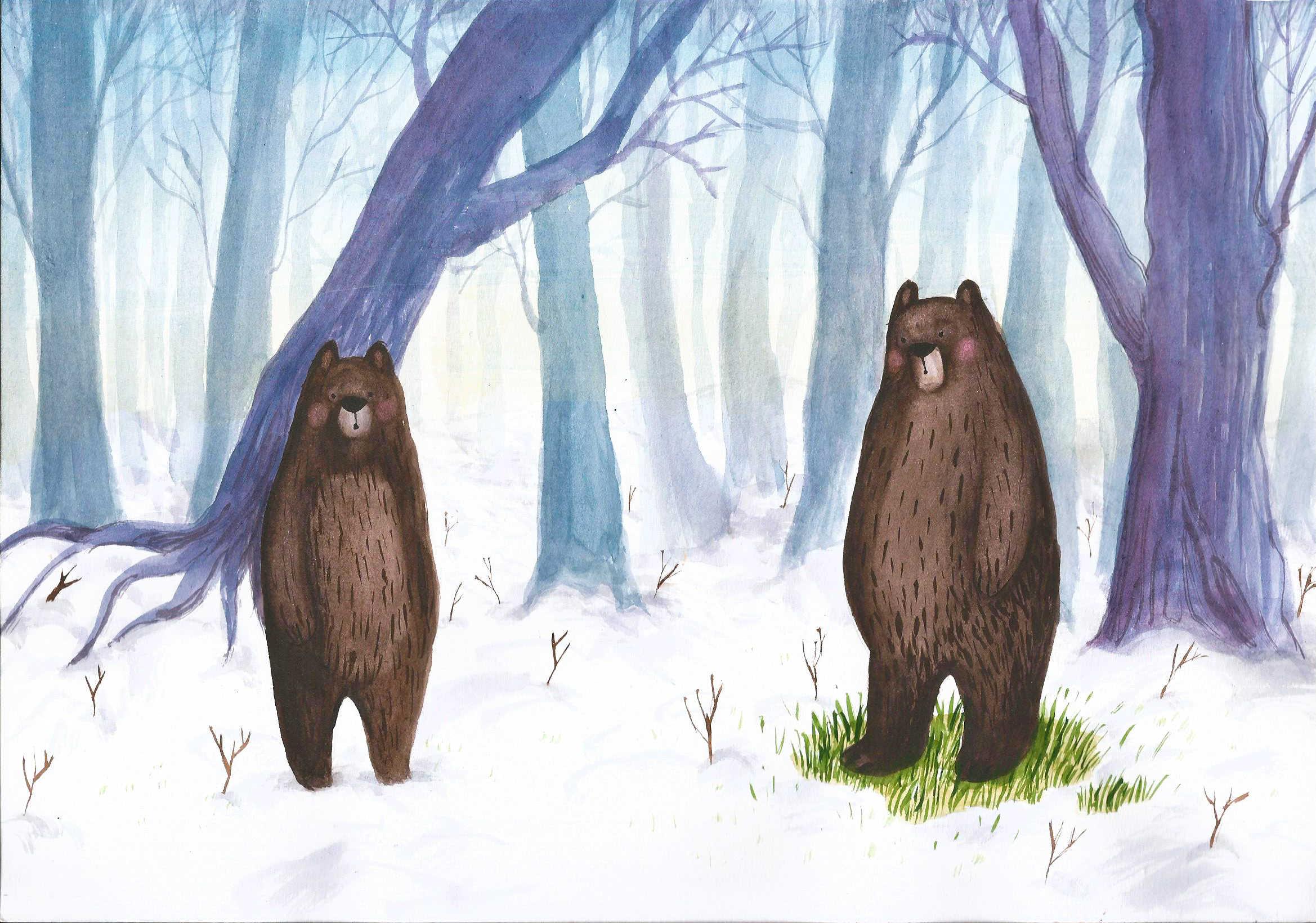 Ilustracja dla pary zimowa misie