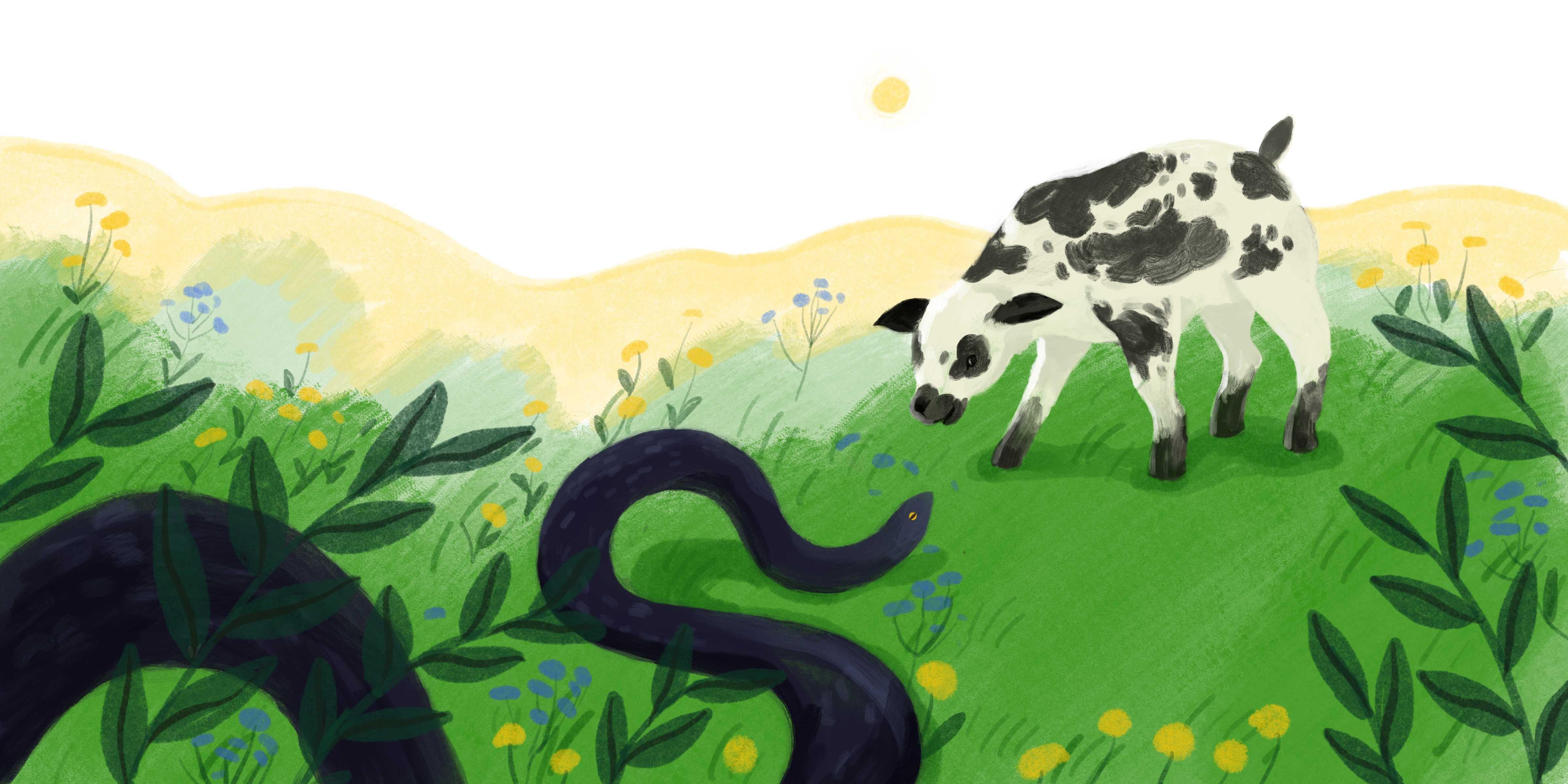 Ilustracja bajkowa baranek z wężem