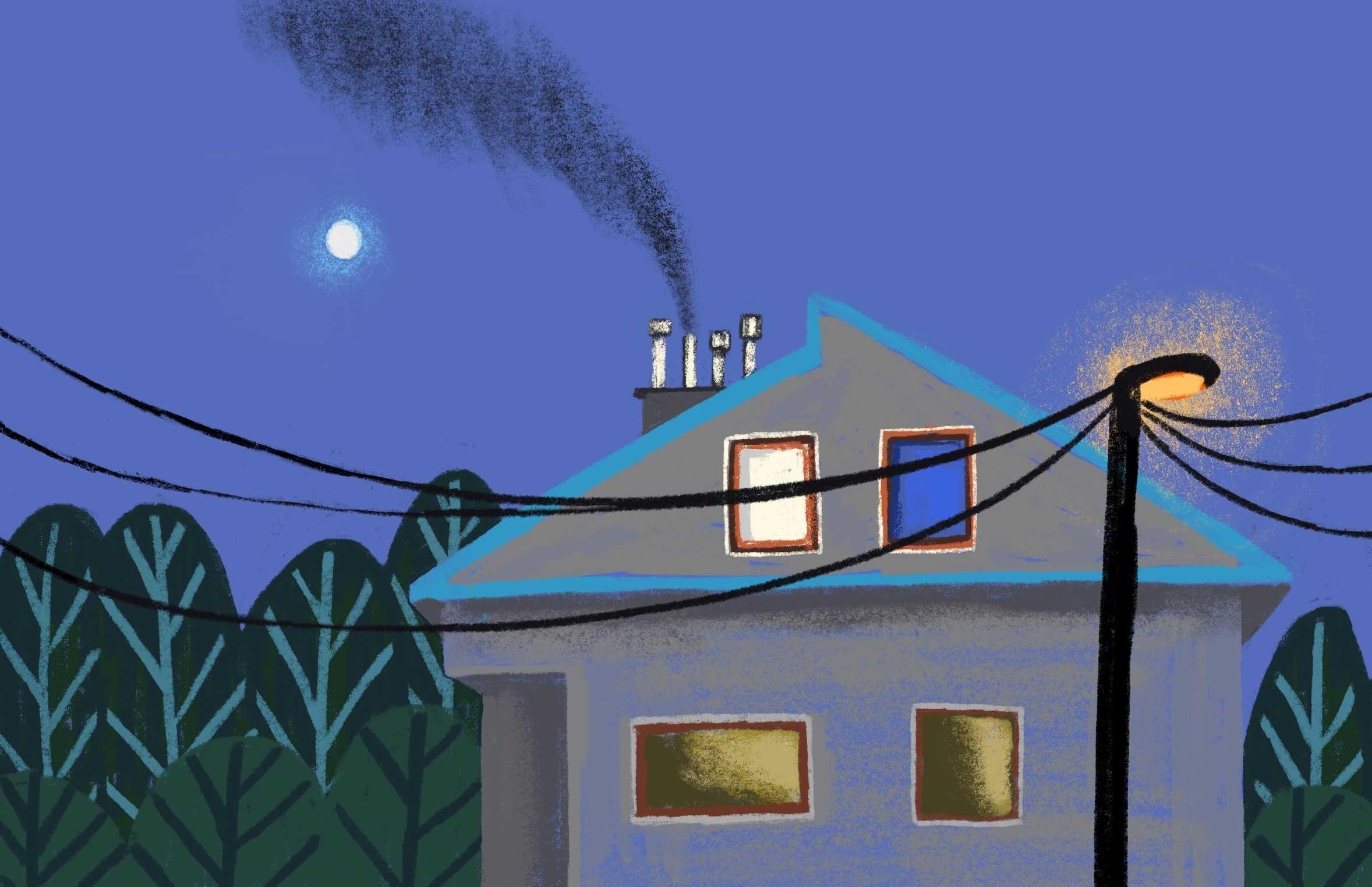 Ilustracja domu z kominem