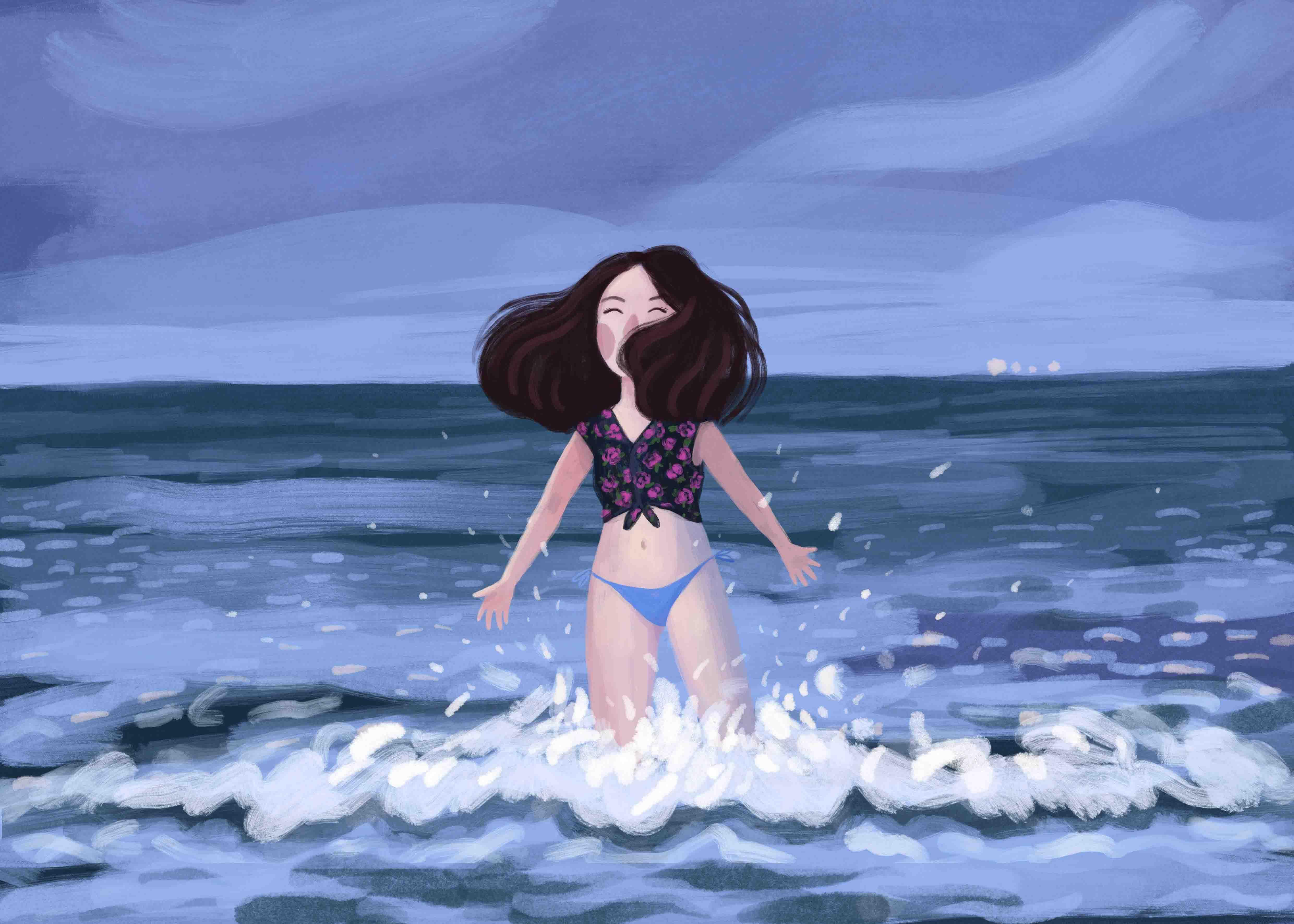 Ilustracja dziewczyny nad morzem