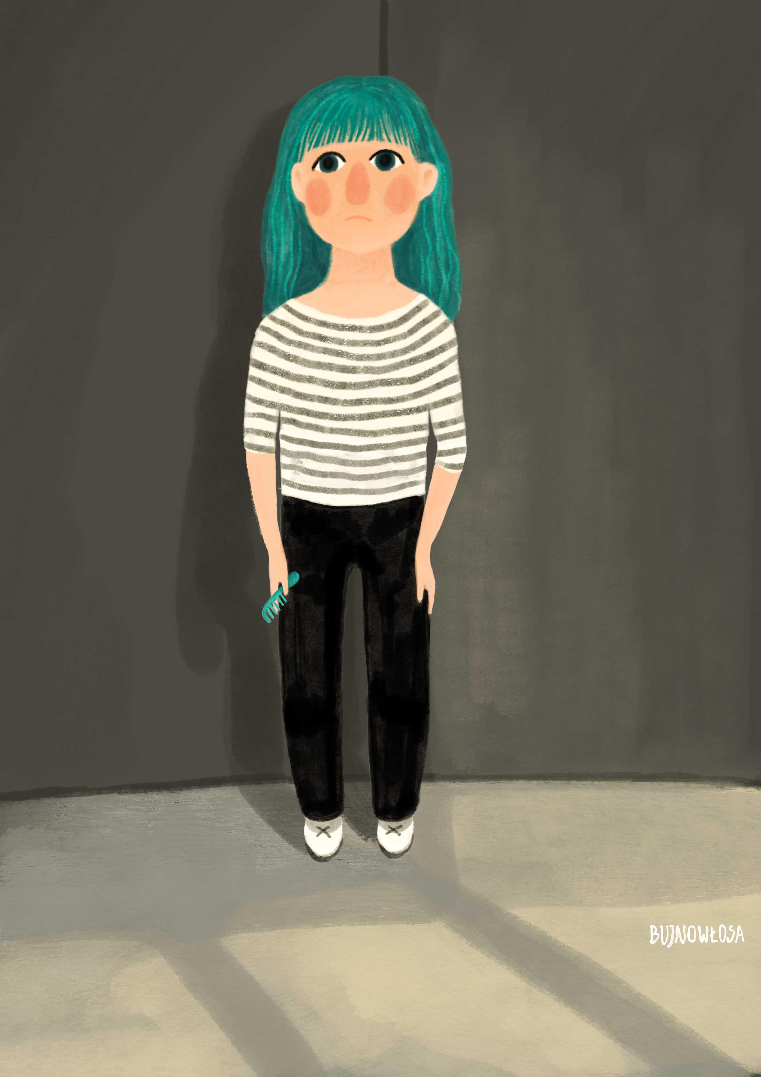 Dziewczynka z kolorowymi włosami