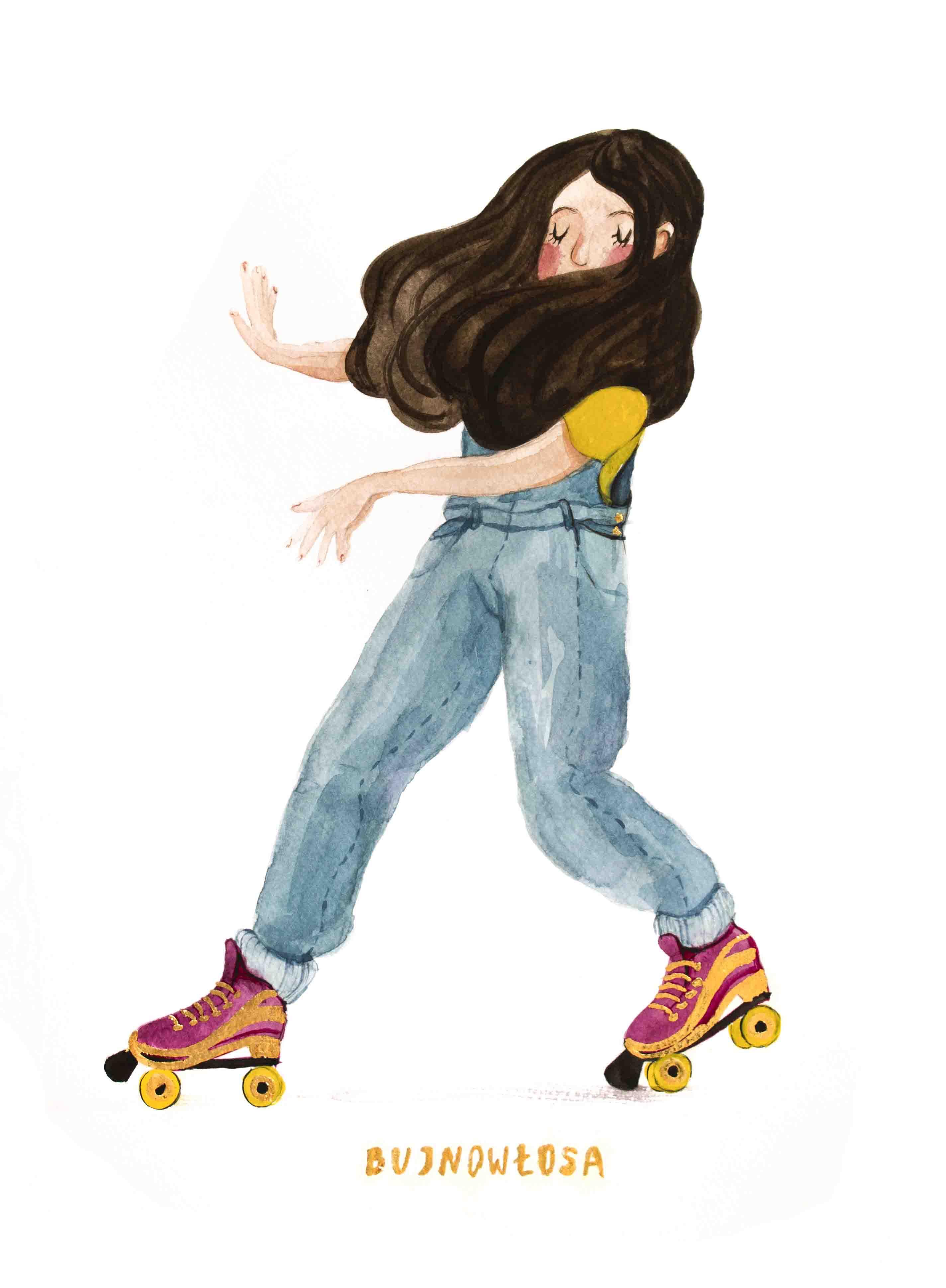 Ilustracja dziewczyny na wrotkach