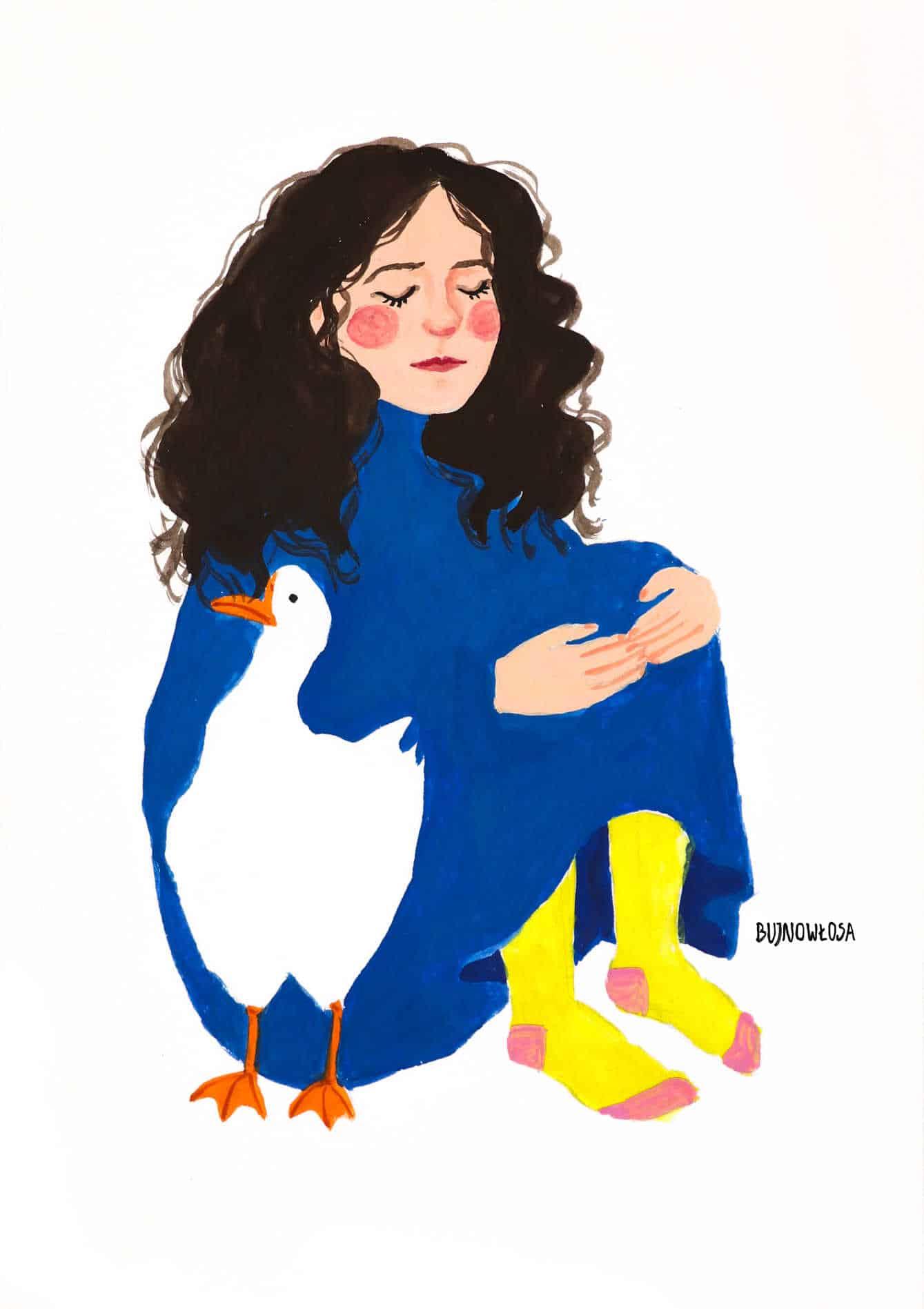 Ilustracja dziewczyny z gąską