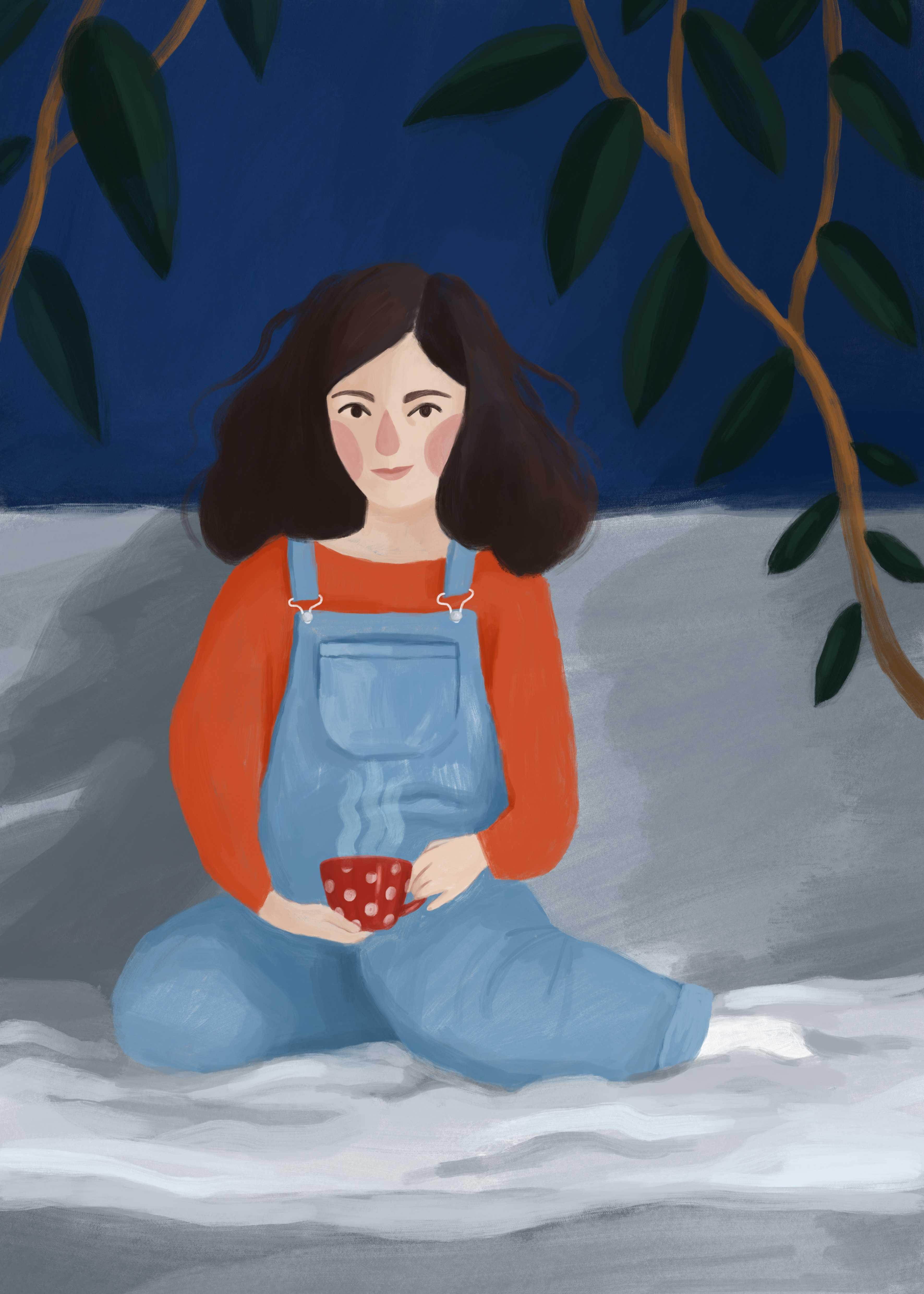 Ilustracja dziewczynki z herbatą