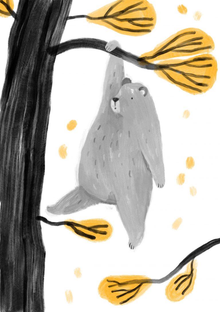 Ilustracja do bajki miś na drzewie