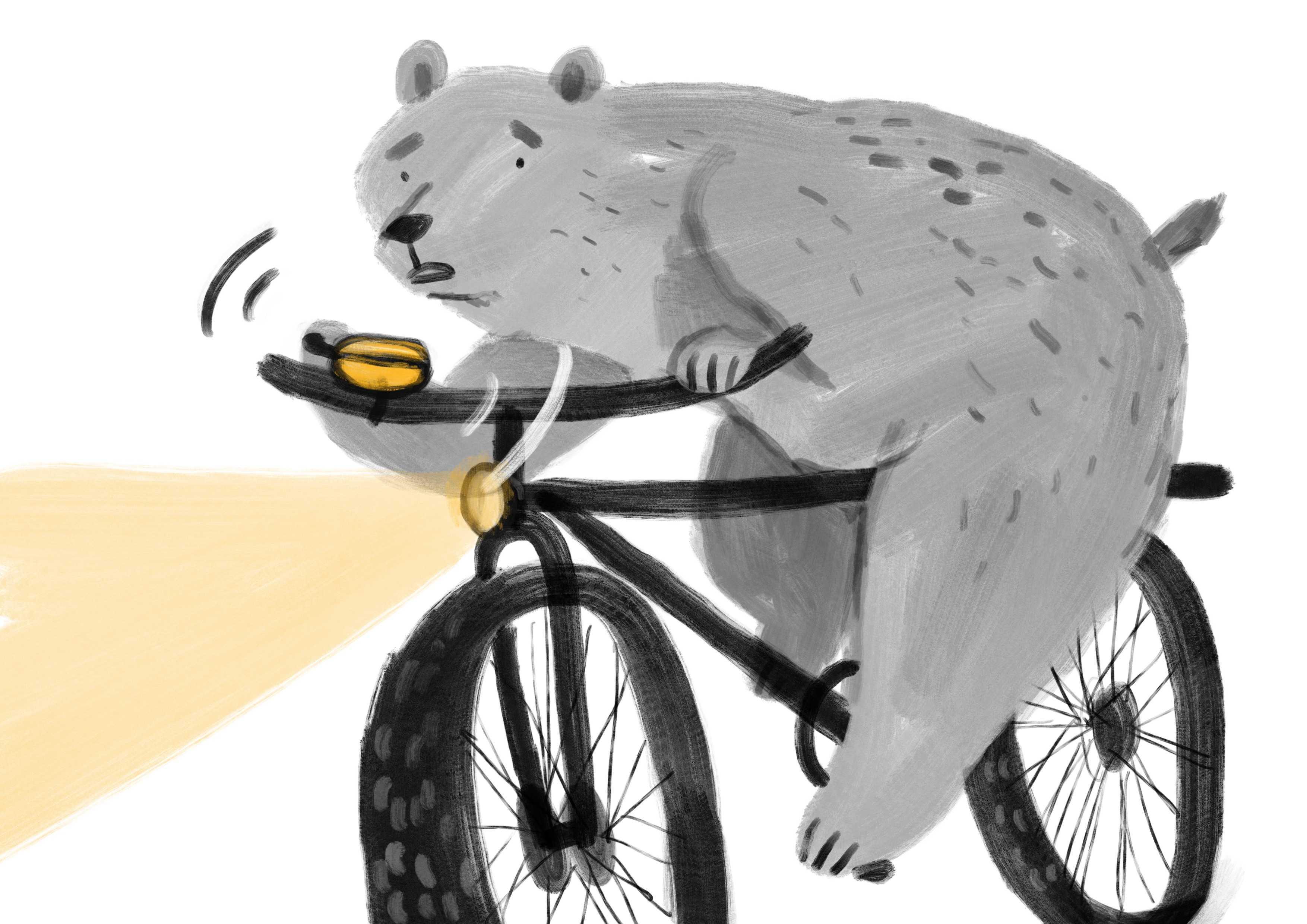 Ilustracja misia na rowerze