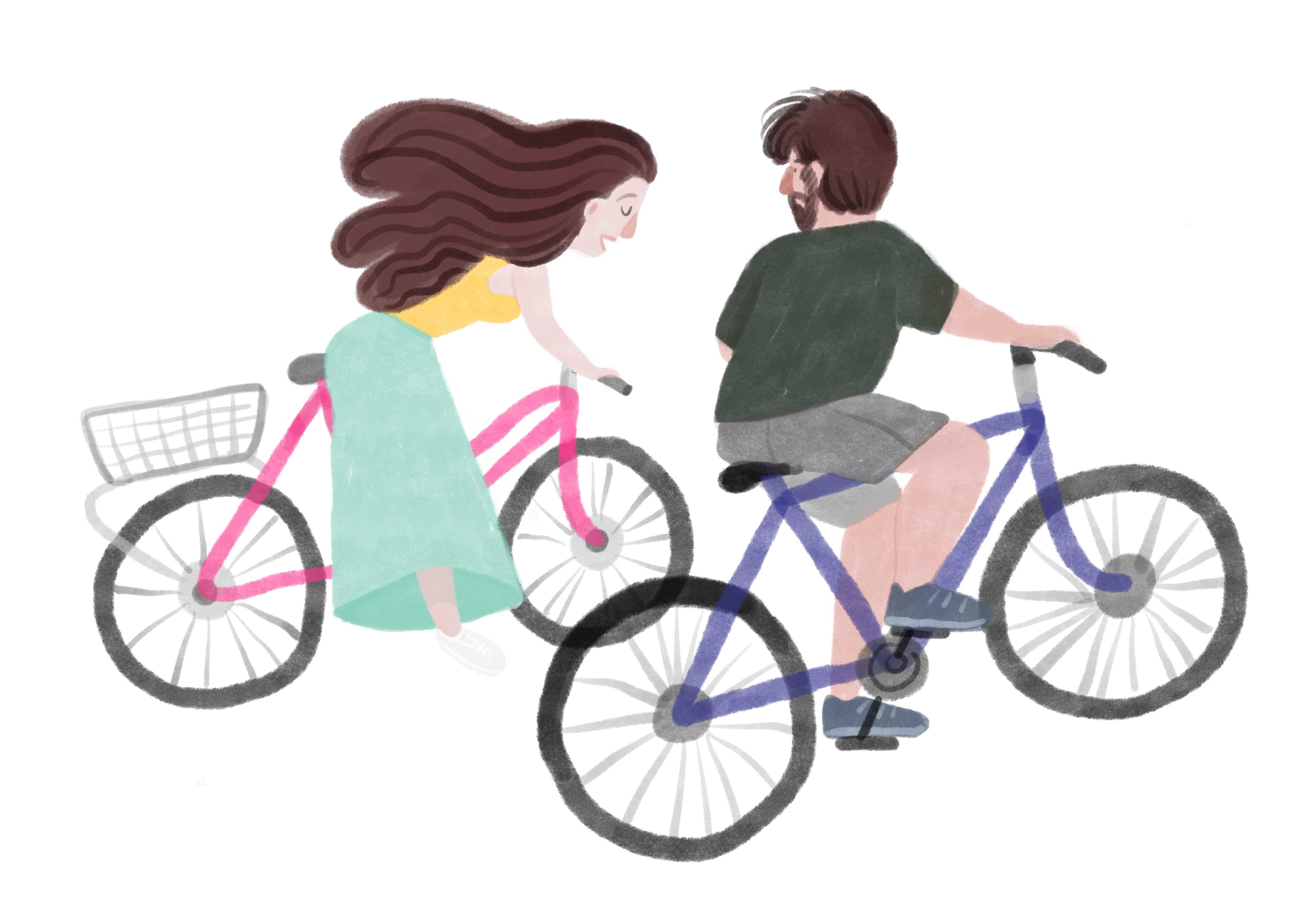 Ilustracja personalizowana pary na rowerach