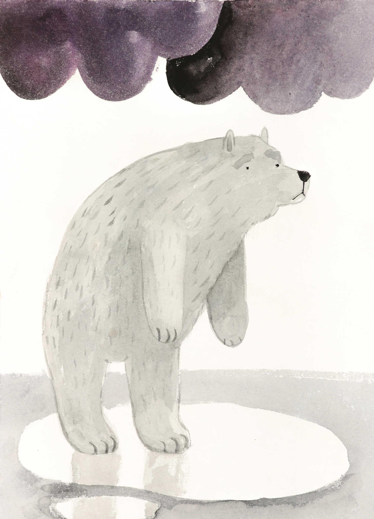Ilustracja akwarelą smutny niedźwiedź