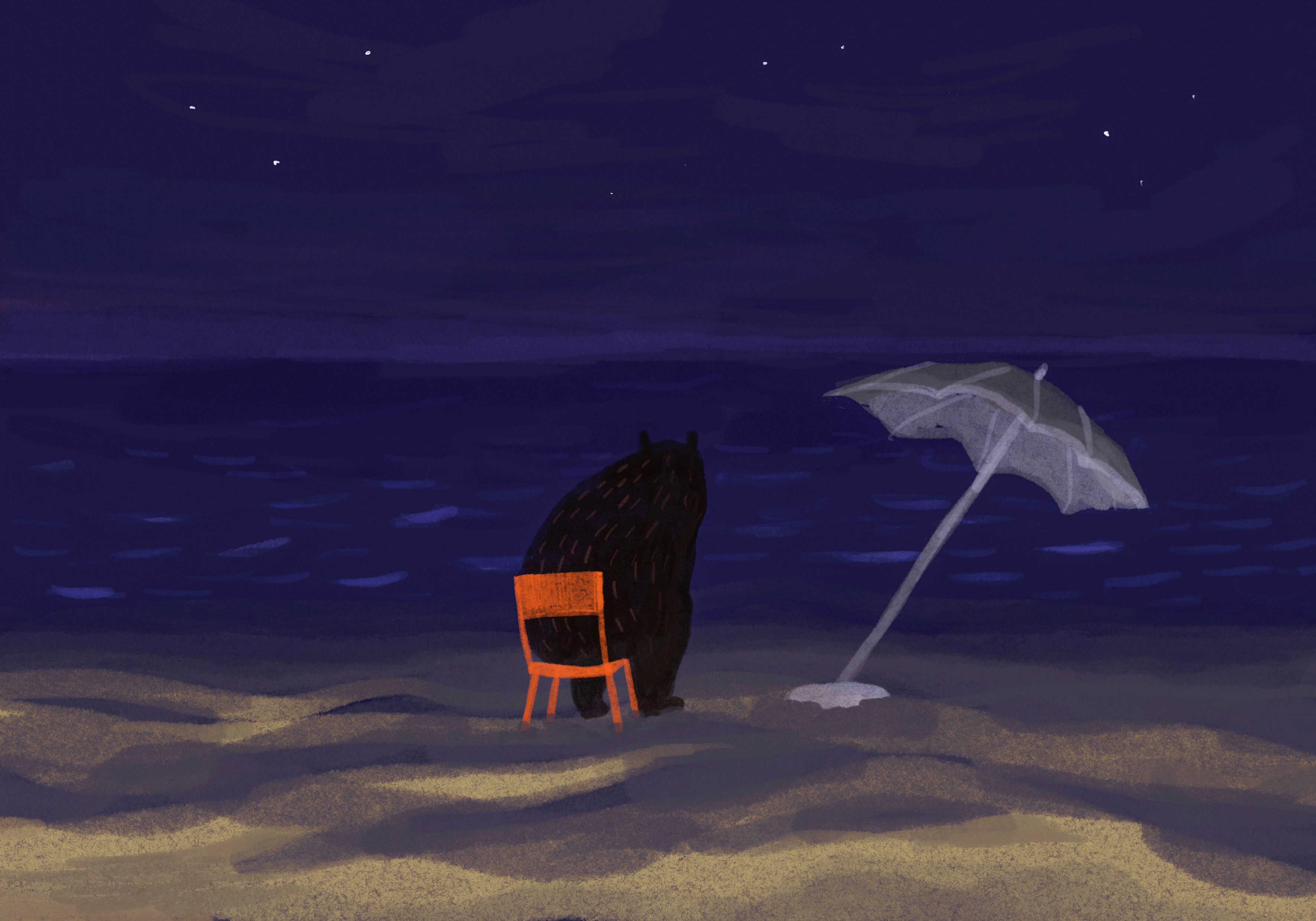 Ilustracja miś nad morzem