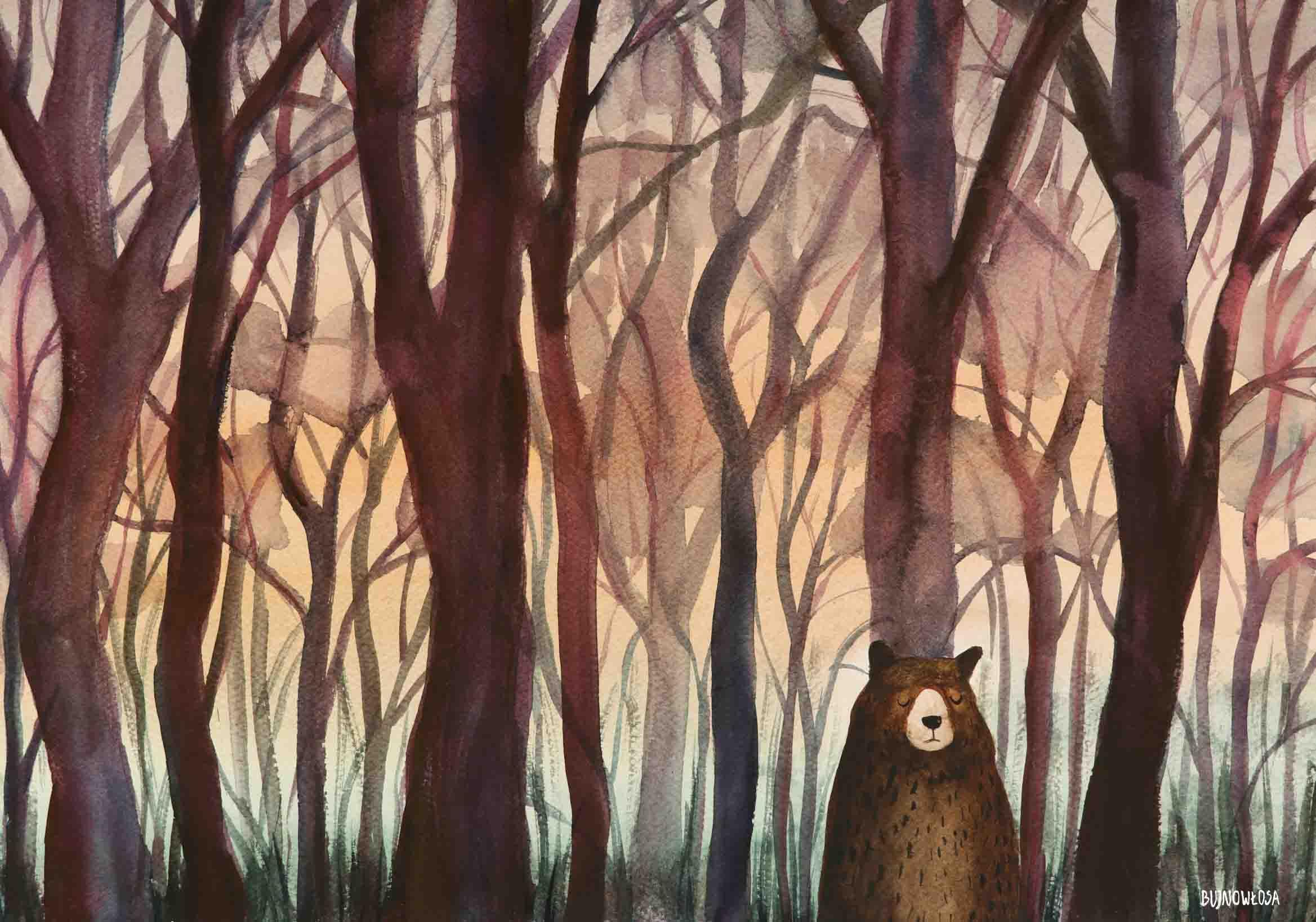 Ilustracja miś w lesie
