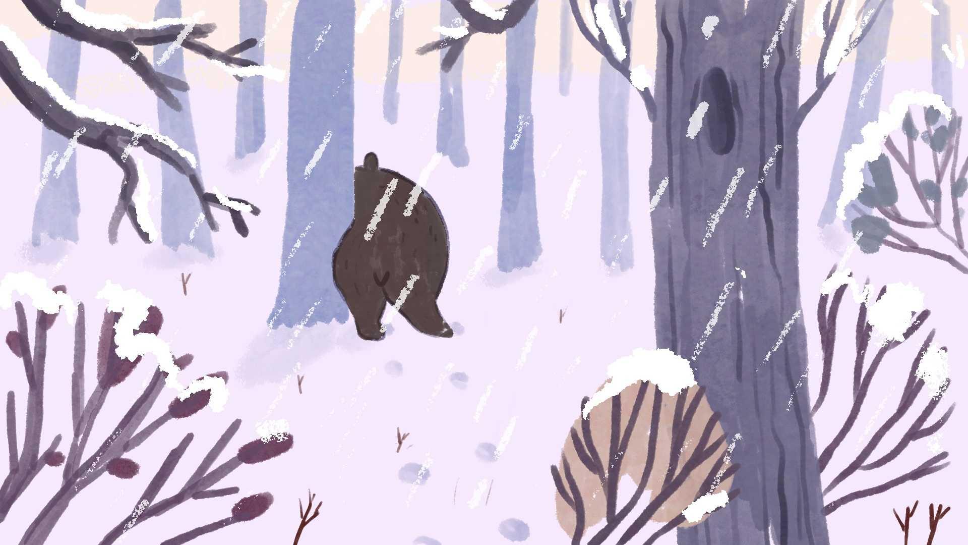 Ilustracja miś w śniegu