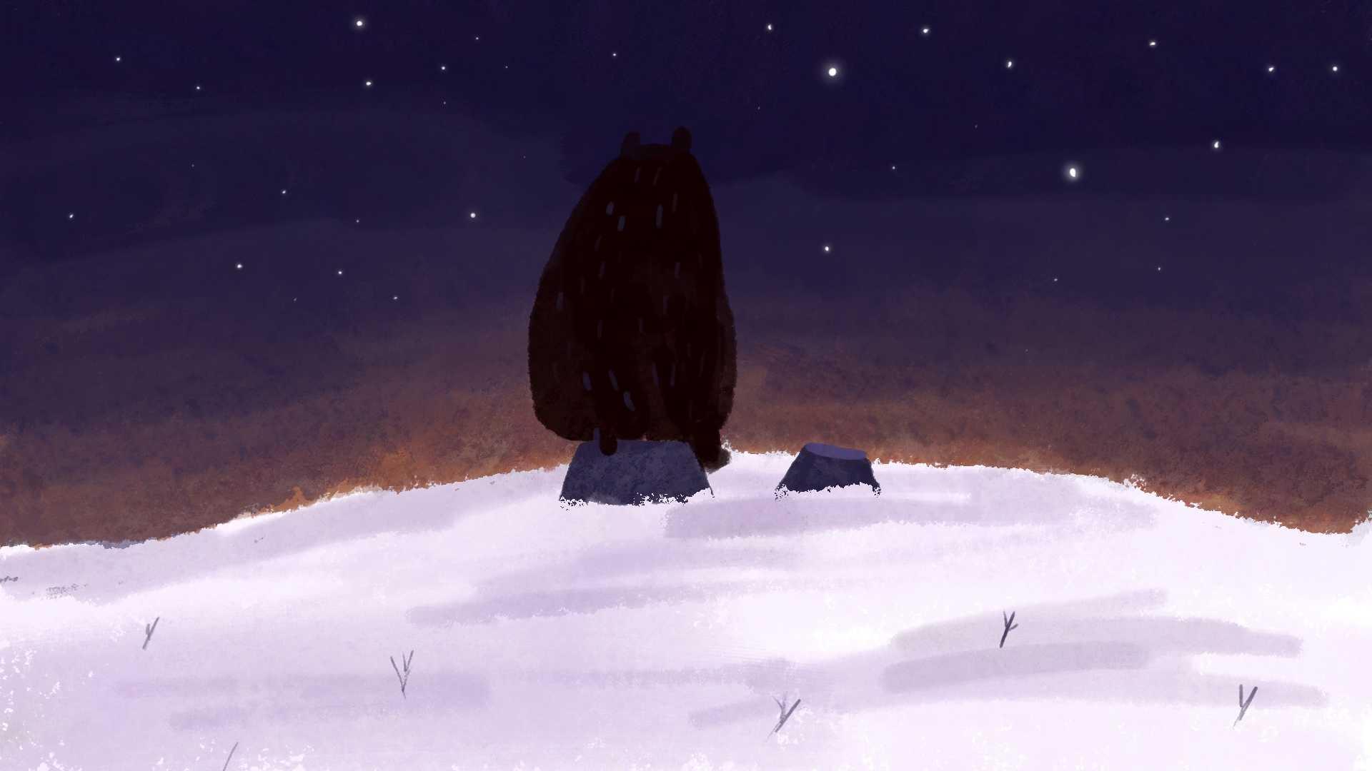 Ilustracja zimowa z niedźwiedziem