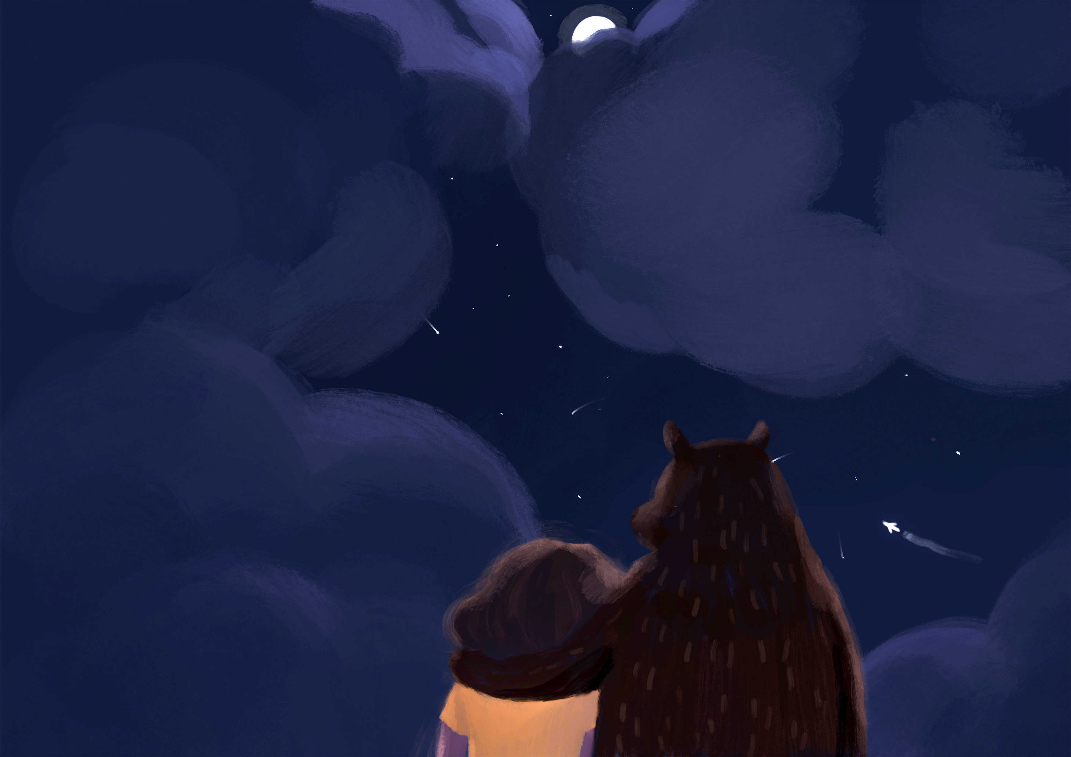 Ilustracja cyfrowa niebo chmury