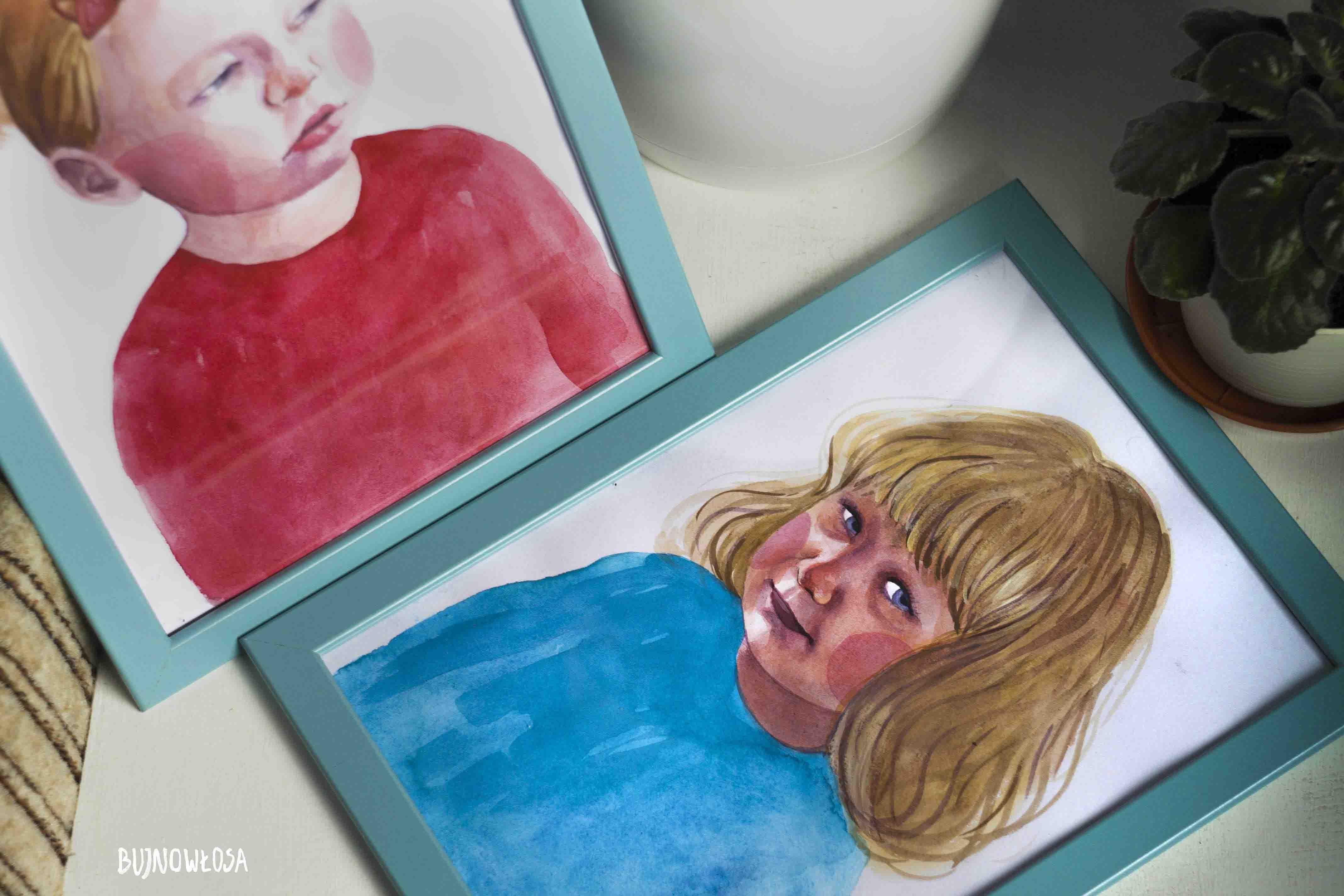 Portret akwarelą wnuczek