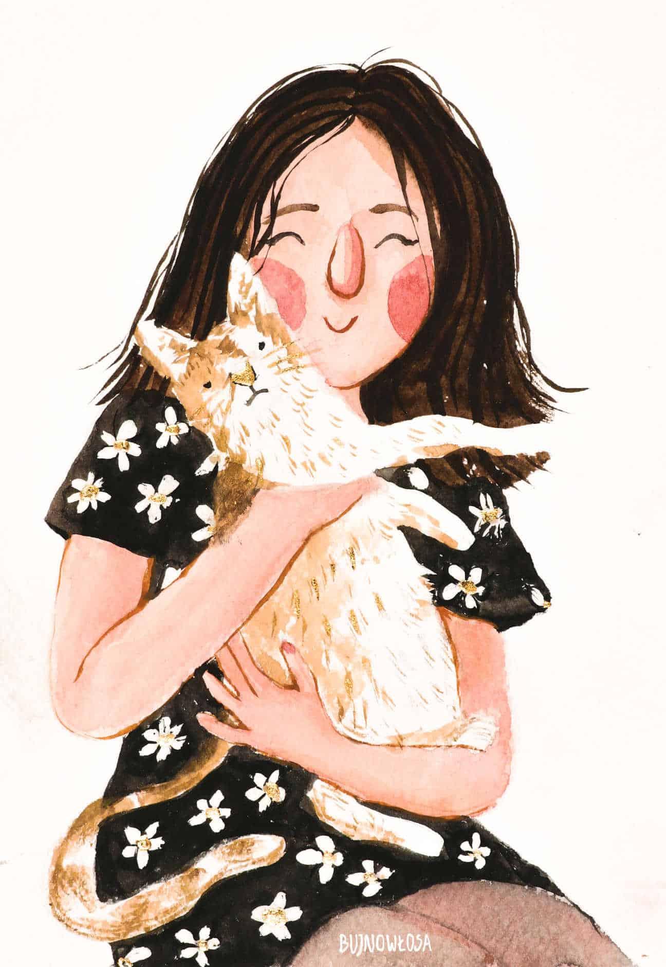 Portret dziewczyna z kotem
