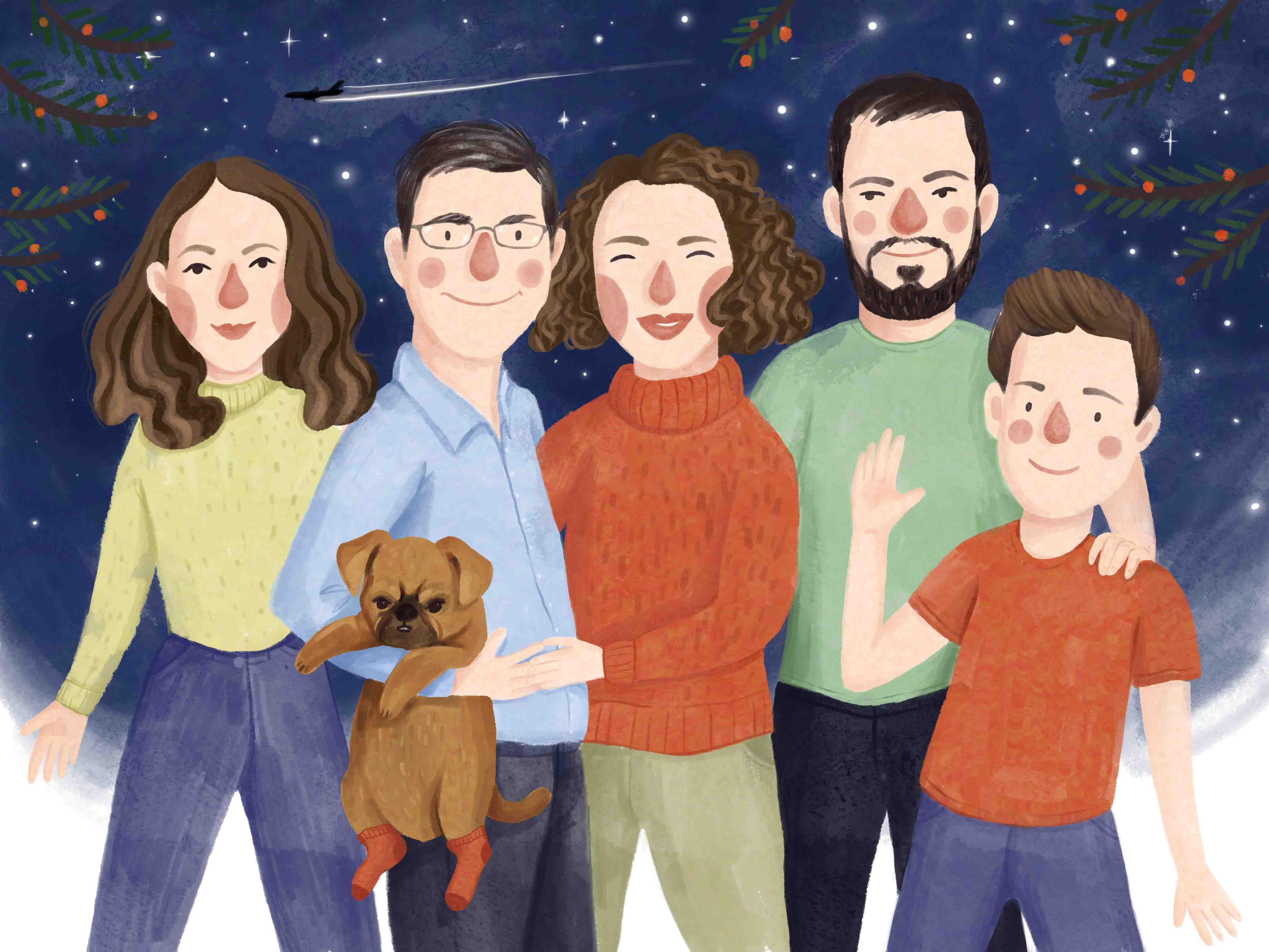 Portret rodzinny z psem na zamówienie