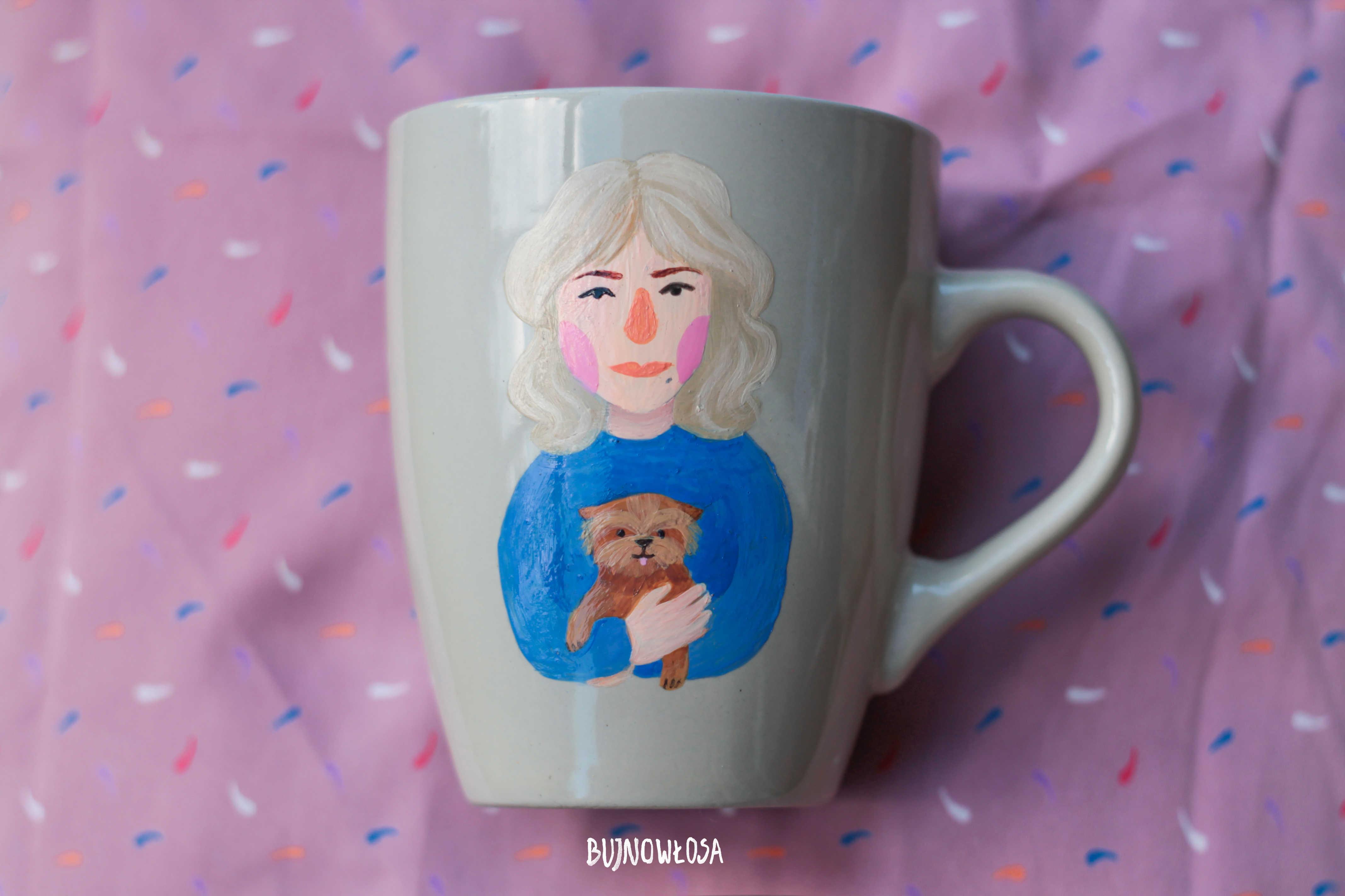 Ręcznie malowany kubek portret z psem