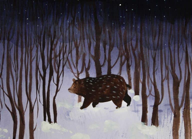 Zimowa ilustracja niedźwiedzia