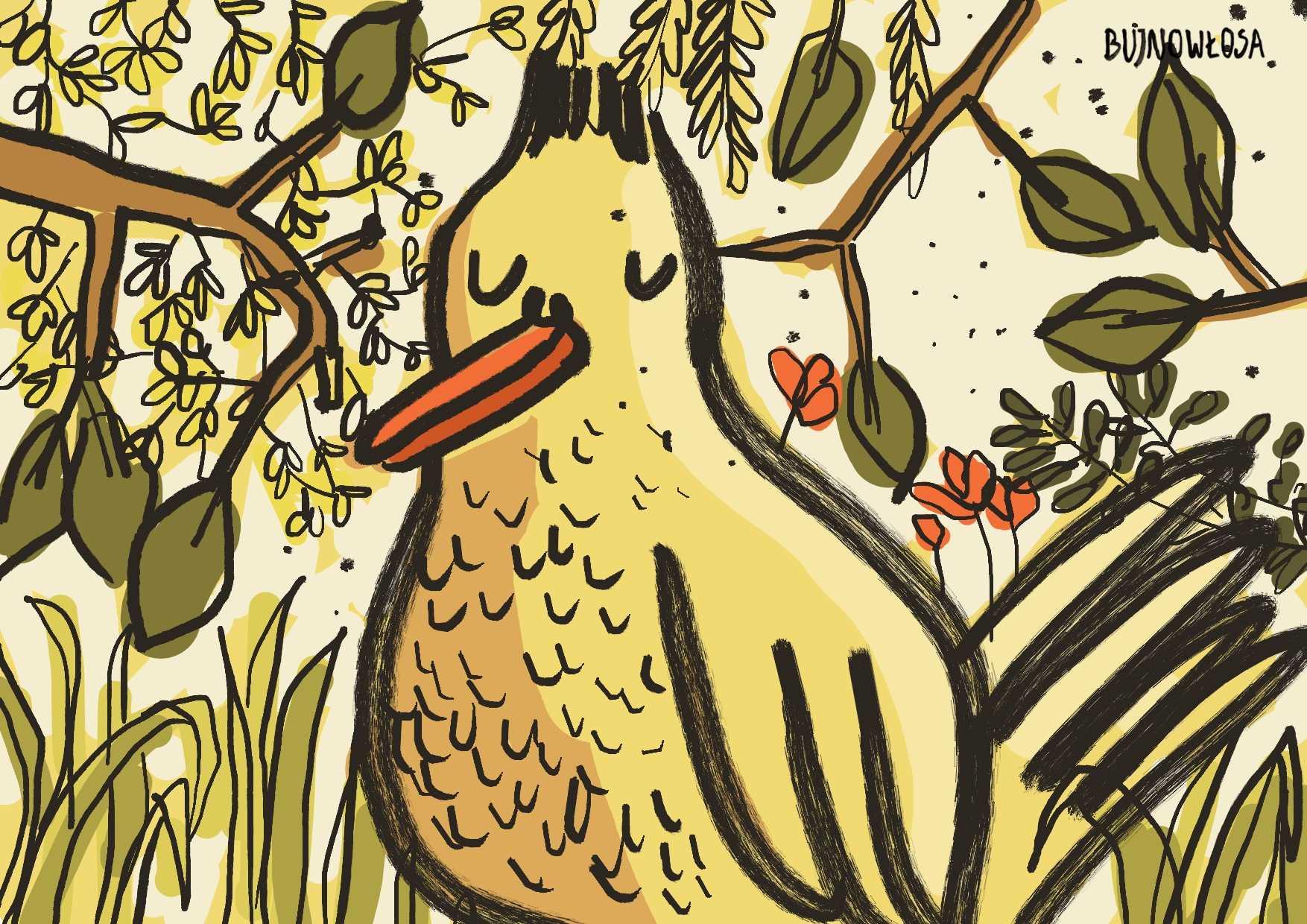 Ilustracja cyfrowa żółty ptak