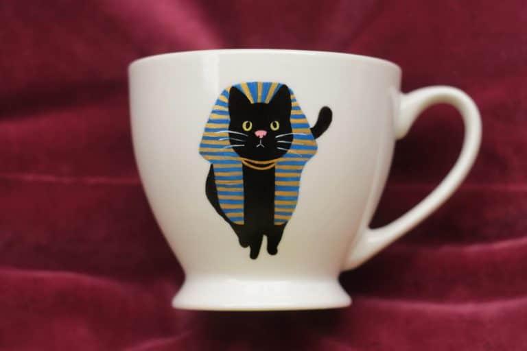 Kubek malowany z kotem