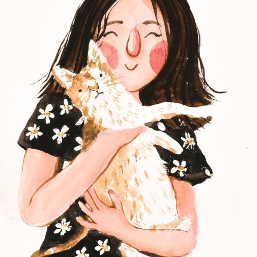 Portret dziewczyny z kotem